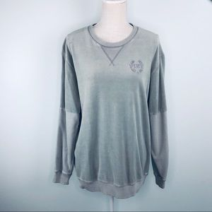 Pink Light Grey Velour Sweat Shirt Sz M